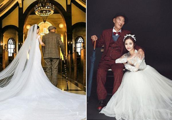 Để làm yên lòng ông, Fu đã quyết định khoác lên mình bộ váy trắng tinh. Cô gái xinh đẹp khoác tay ôn